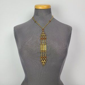 Vintage Gold Tone & Brown Tie Necklace